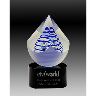 140mm Crystal PYRAMIDE with BLUE Swirl from $160.18